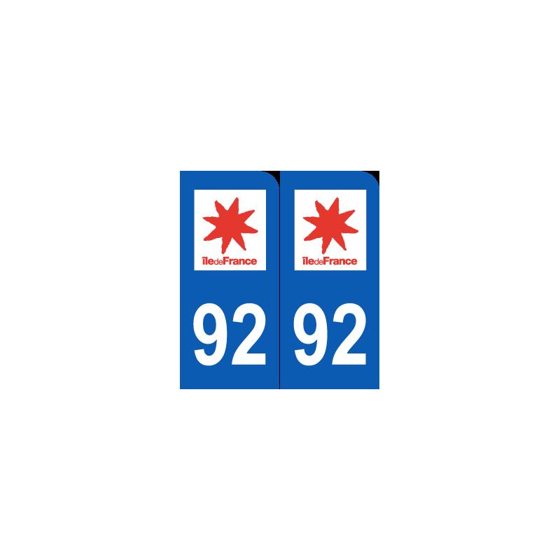 Sticker plaque d partement 92 hauts de seine plaque for 92 haute seine