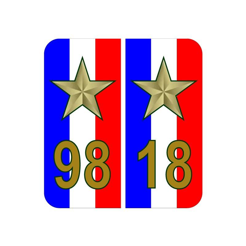 Stickers plaque 98 18 2 étoiles Coupe du monde bleu blanc rouge