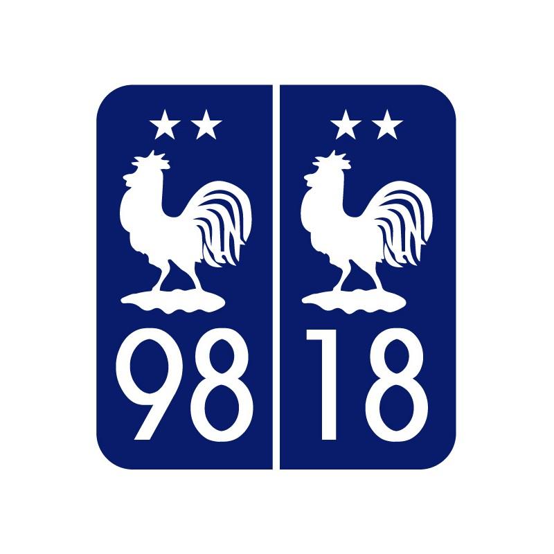 Stickers plaque Maillot 2 étoiles Coupe du monde 98 18