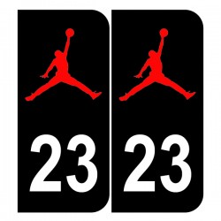 Stickers plaque 23 logo Jordan noir