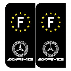 Stickers plaque AMG mercedes noir