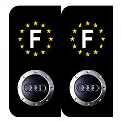 Autocollant plaque Audi noir