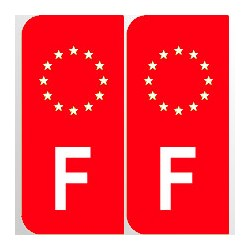 Stickers plaque F fond rouge
