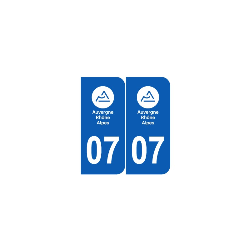 stickers plaque d partement 07 ard che nouveau logo pour plaques d 39 immatriculation jeu de 2. Black Bedroom Furniture Sets. Home Design Ideas