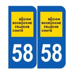 stickers plaque d partement 58 ni vre nouveau logo pour plaques d 39 immatriculation jeu de 2. Black Bedroom Furniture Sets. Home Design Ideas