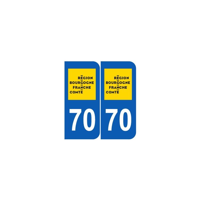 stickers plaque d partement 70 haute sa ne nouveau logo pour plaques d 39 immatriculation jeu de 2. Black Bedroom Furniture Sets. Home Design Ideas