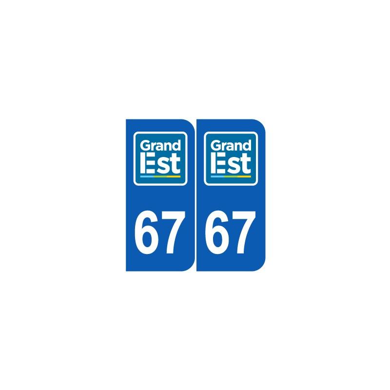 stickers plaque d partement 67 bas rhin nouveau logo grand est plaques d 39 immatriculation jeu de 2. Black Bedroom Furniture Sets. Home Design Ideas