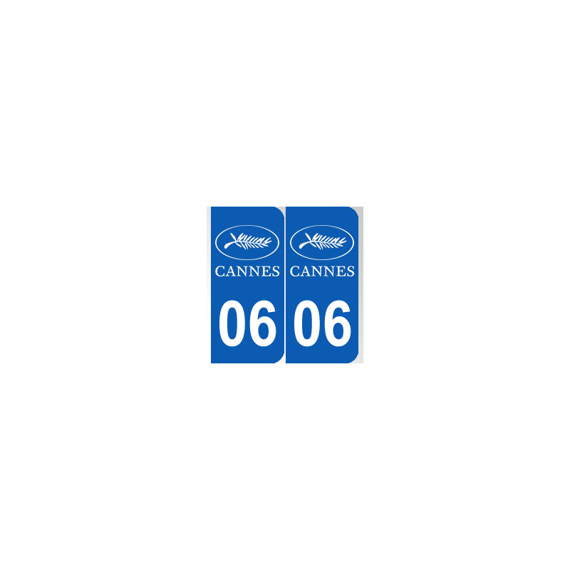 sticker plaque d partement 06 palme de cannes plaque immatriculation jeu de 2. Black Bedroom Furniture Sets. Home Design Ideas