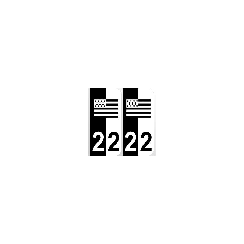Département 22 Côtes d'Armor noir blanc