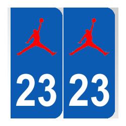 Stickers pour plaques d'immatriculation 23 Jordan