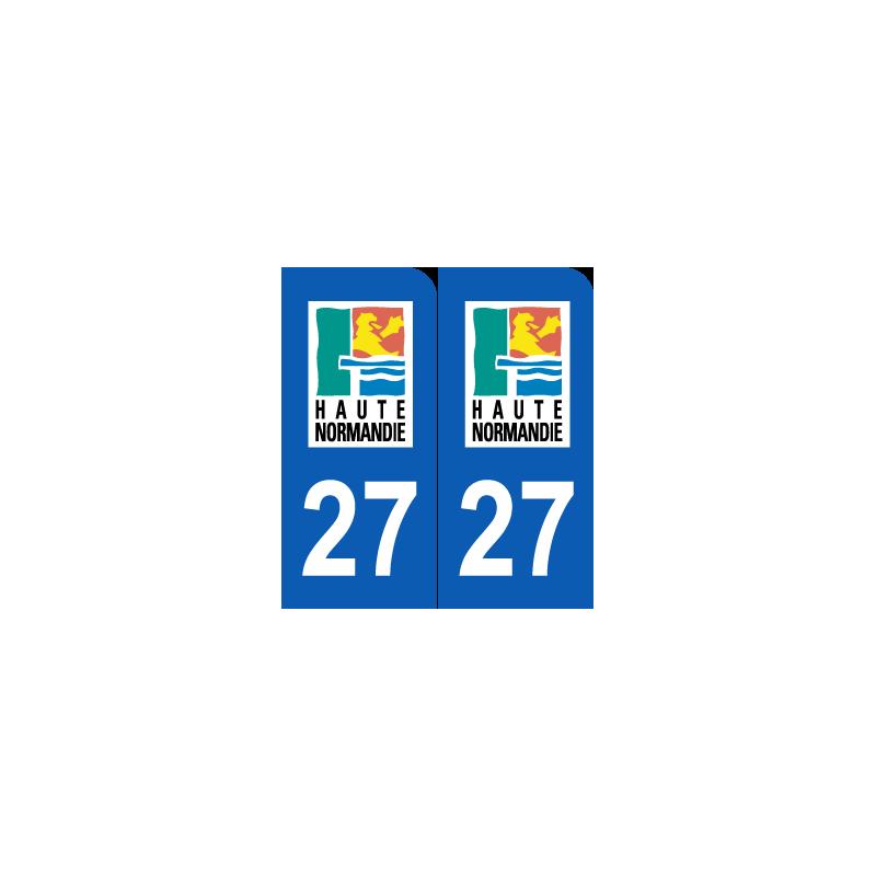 sticker plaque d partement 27 eure plaque immatriculation jeu de 2. Black Bedroom Furniture Sets. Home Design Ideas