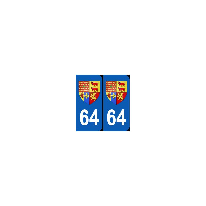 Département 64 Pyrénnées Atlantique blason logo région aquitaine