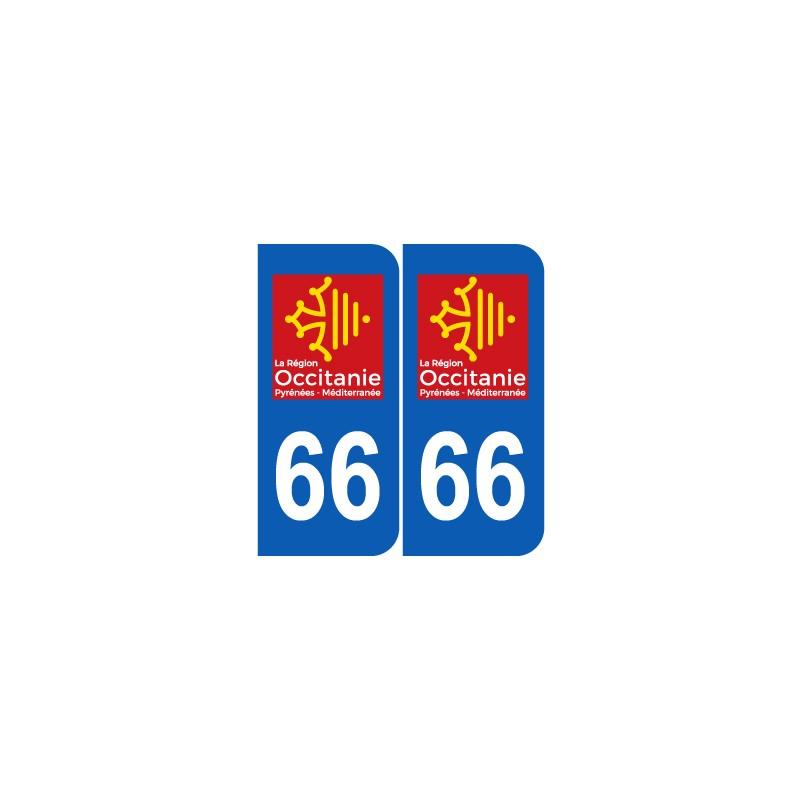 Autocollant plaque immatriculation voiture dpt 66 Pyrénées Orientale