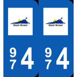 autocollant pour plaque 974 Réunion