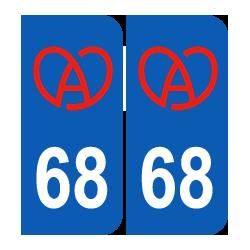 Département 68 Haut Rhin bretzel alsacien logo région alsace