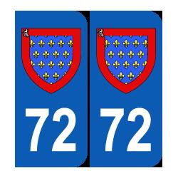 blason Département 72 Sarthe région pays de la loire